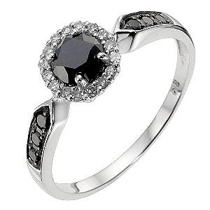 9ct White Gold Black Diamond Ring