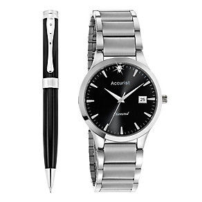 Accurist Men's Diamond Set Bracelet Watch & Pen Set - Product number 8979626