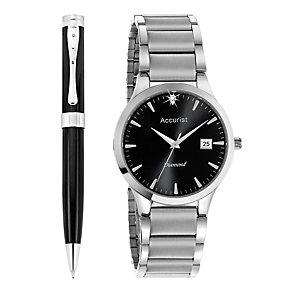 Accurist Men's Diamond Set Bracelet Watch & Pen Set - Product number 8979626