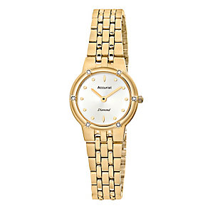 Accurist Ladies' Gold Plated & Diamond Set Bracelet Watch - Product number 8979634