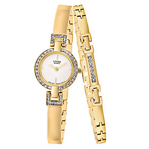 Citizen Ladies' Gold Plated Bracelet & Watch Set - Product number 8979693