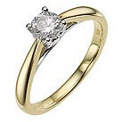 9ct yellow gold 1/2 carat heart solitaire ring - Product number 8979707