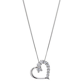 9ct white gold cubic zirconia heart pendant - Product number 8983259