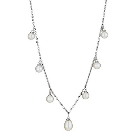 9ct white gold and pearl multi drop necklace 17
