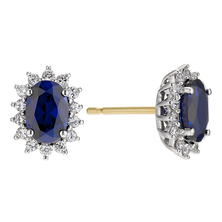 9ct gold created sapphire cubic zirconia earrings - Product number 8983461