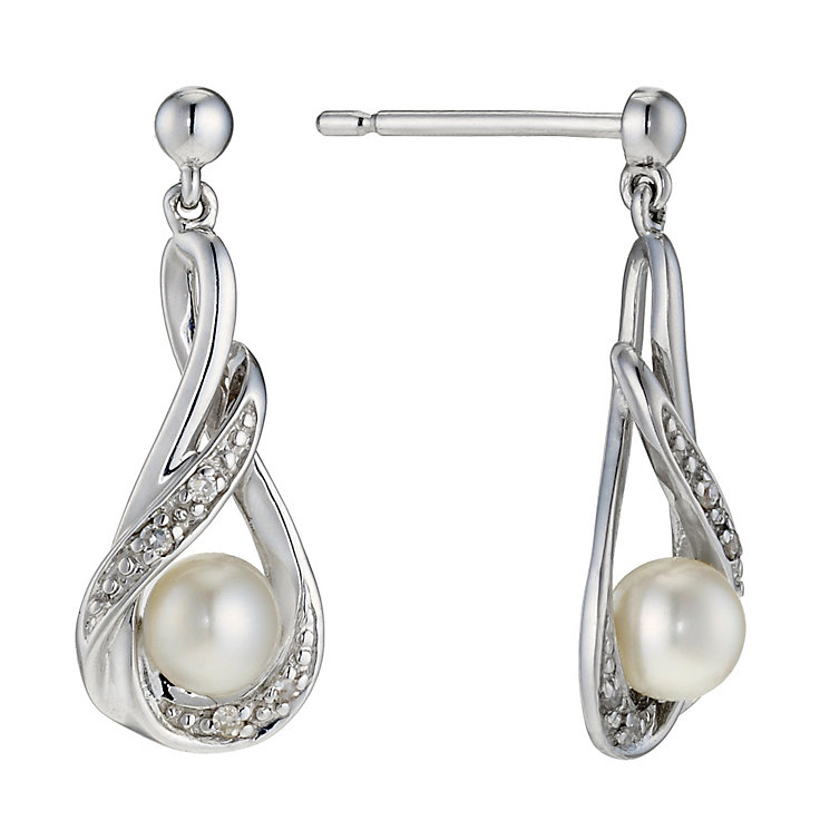 9ct white gold, diamond and pearl earrings - Product number 8983496