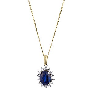 9ct yellow gold created sapphire cluster pendant - Product number 8983550