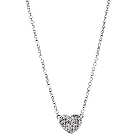 9ct white gold pave heart necklace