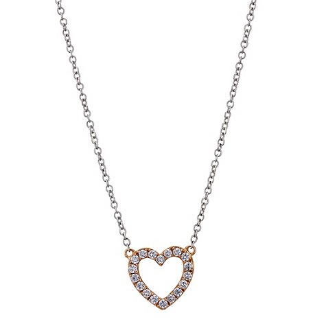 9ct white rose gold open heart necklace