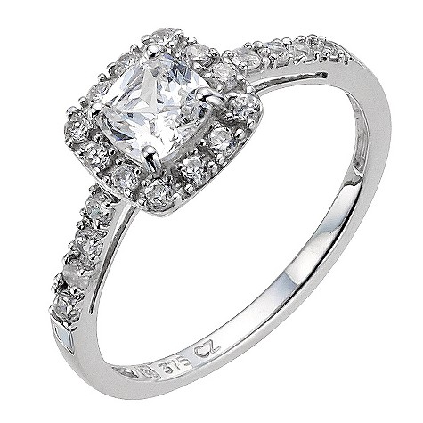9ct white gold cubic zirconia shoulder ring