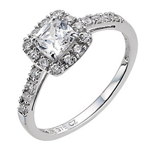 9ct white gold cubic zirconia shoulder ring - Product number 8984239