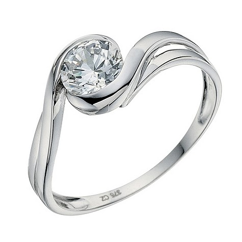 9ct white gold cubic zirconia wrap ring