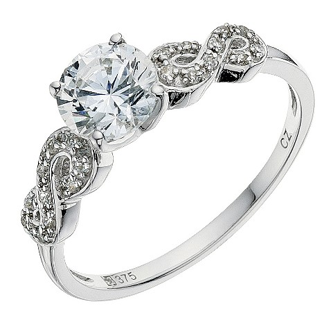 9ct white gold kiss shoulder ring