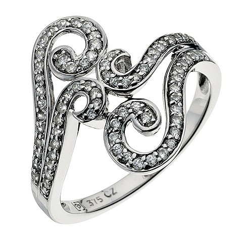 9ct white gold swirl ring