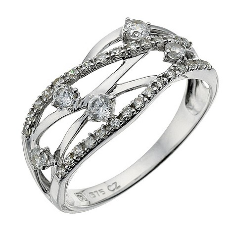 9ct white gold wave crossover ring