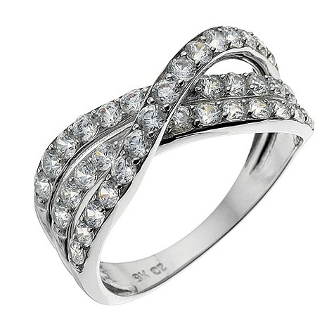 9ct white gold triple crossover ring