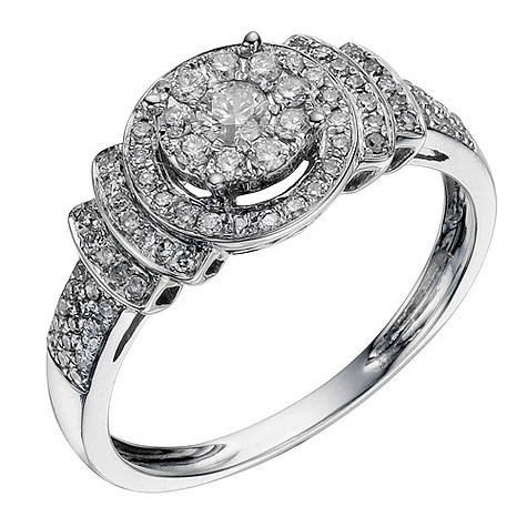 9ct white gold 1/2 carat halo diamond cluster ring
