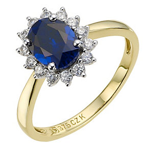 9ct yellow gold created sapphire cluster ring - Product number 8985812