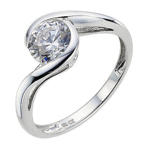 9ct white gold made with Swarovski zirconia twist 6.5mm ring