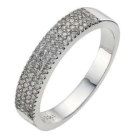 9ct white gold third carat diamond pave set eternity ring