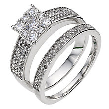 18ct white gold one carat diamond cluster bridal set - Product number 8986975
