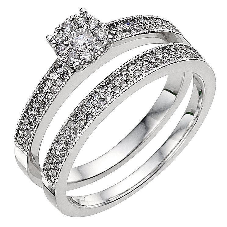 9ct white gold half carat diamond cluster bridal set - Product number 8987246