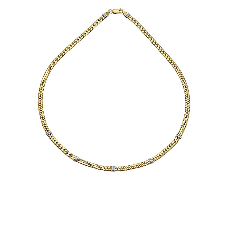 9ct yellow & white gold bar set curb necklace - Product number 8987602