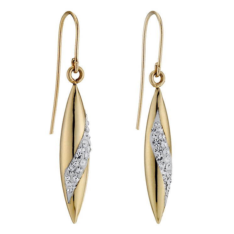 9ct Yellow Gold & Crystal Drop Earrings - Product number 8988080