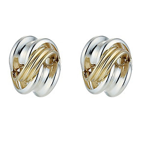 9ct Yellow Gold & Silver Knot Studs - Product number 8988188