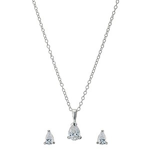 Silver Pear Cubic Zirconia Earrings & Pendant Set - Product number 8988811