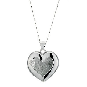 Silver Diamond Cut Heart Locket