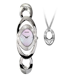 Seksy Ladies' Pink Bracelet Watch & Necklace Set - Product number 8991073