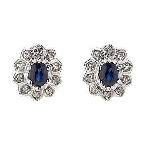 9ct White Gold Diamond & Sapphire Cluster Earrings - Product number 8992169