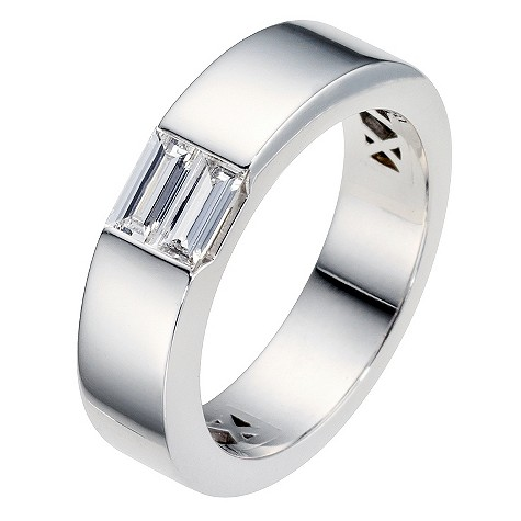 Amanda Wakeley platinum half carat baguette diamond ring