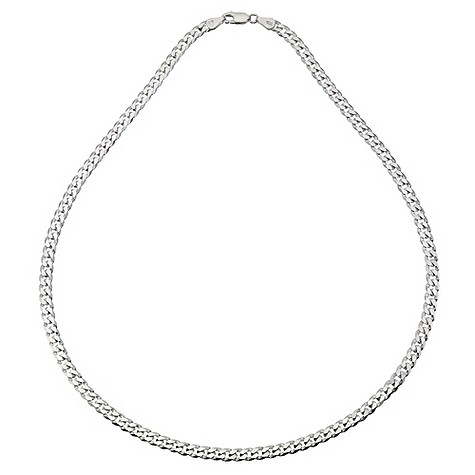 Silver flat curb necklace 20