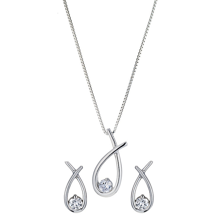 Silver, cubic zirconia love knot set - Product number 8996237