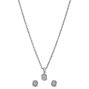 Silver 1/6 Carat Diamond Earrings & Pendant Gift Set - Product number 8996938