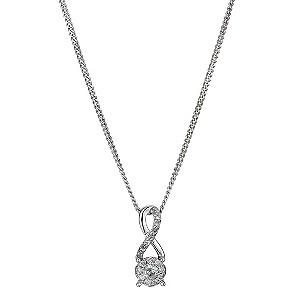 Silver 1/6 Carat Diamond Pendant Necklace