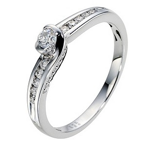 Silver 9ct 1/5 Carat Diamond Solitaire Ring
