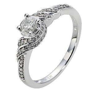 18ct White Gold 0.40 Carat Diamond Solitaire Ring - Product number 8997071