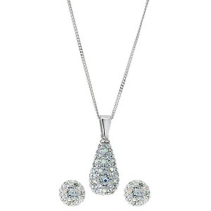 Silver crystal earrings & pendant set - Product number 9000666