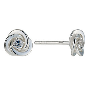 Silver and Cubic Zirconia Spiral Studs - Product number 9001239