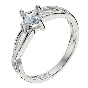 Silver Cubic Zirconia Weave Ring Size P - Product number 9001298