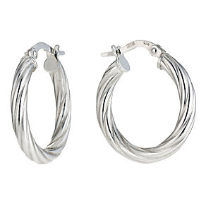 Silver 15mm Twist Hoop Earrings - Product number 9001603