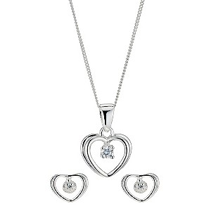 Silver & Cubic Zirconia Heart Box Set - Product number 9004149