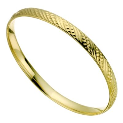 9ct Yellow Gold Textured Bangle HSamuel