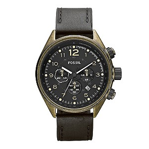 Fossil Men's Brown Leather Strap Watch - Product number 9006656