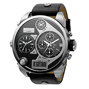 Diesel Men's Black Leather Strap Watch - Product number 9007598