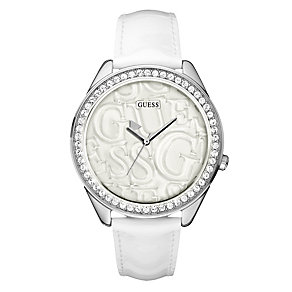 Guess Ladies' White Strap Watch - Product number 9007687
