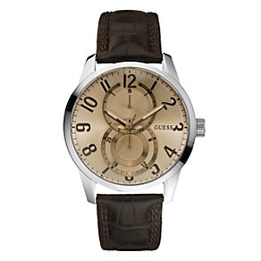 Guess Men's Leather Brown Strap Watch - Product number 9007989